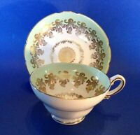 Stanley Pedestal Tea Cup And Saucer - Pale Green With Gold Thistles - England