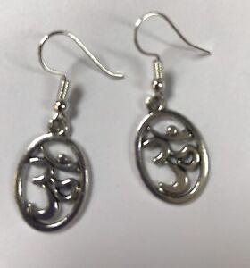 OHM OM AUM BUDDHIST SYMBOL TIBETAN SILVER DROP EARRINGS Silver Plated Hooks