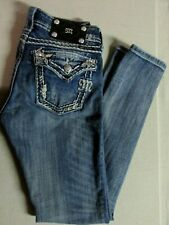 Miss Me Embellished Blue Denim Distressed Skinny Leg Jeans Size 28 JE541854