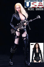 """1/6 Black Widow Female Agent Leather Suit Set For 12"""" Phicen Hot Toys Figure USA"""