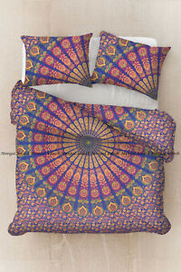 Indian mandala peacock duvet cover bohemian cotton comforter cover pillow cover