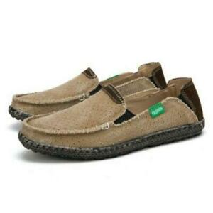 Mens Driving Moccasins Round Toe Hollow Out Slip On Canvas Shoes Loafers EU39-47