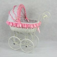Jaqueline Classic Cane Wicker Girls Toddler Dolls Pram Linen Play Strong