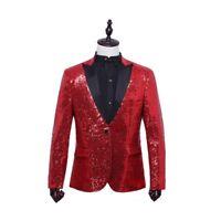 Men Sequin Blazer Suit Jacket Shiny Tuxedo Wedding Formal Party Dance Club Coat