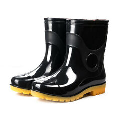 Women's Mens Anti Slip Mid Calf Waterproof Rubber Rain Boot Garden Work Shoes