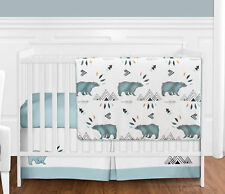 Sweet Jojo Bumperless Blue Black Bear Mountain Baby Boy 4pc Crib Bedding Set