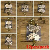 12PCS Christmas Tree Xmas Wood Chip Hanging Pendant Ornaments Decor DIY Craft