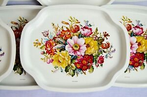 """10 Pieces  Vintage Elite Tin Trays Floral Design 7-1/2"""" x 6-1/8"""" Made In England"""
