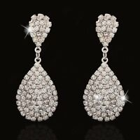 Statement Zircon Crystal Women Silver Ear Drop Dangle Earrings Wedding Jewelry