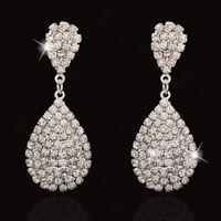 Statement Zircon Crystal Women Silver Ear Drop Dangle Earrings Wedding Jewelry