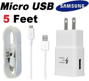 OEM Samsung Galaxy S6 S7 Edge Note 5 Original Fast Wall Charger Micro USB Cable