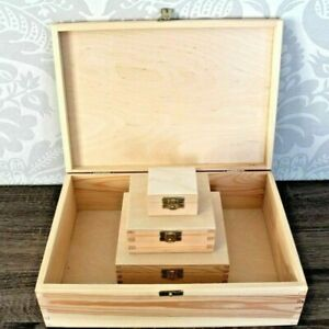 Wooden Storage Boxes Small & Large Plain Gift Idea Memory Keepsake Box with Lid