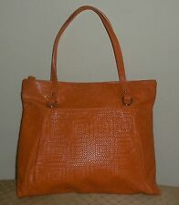 Gianni Chiarini Orange Embossed Woven Look Leather Shoulder Small Slim Handbag