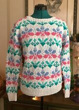 VTG 80s Sweater KAWAII Pastel Flowers Sz L Fairy Kei Floral Hand Knit Top Retro