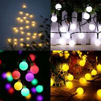 30 LED Guirlande Solaire Boule Lampe Eclairage Lumineuse Noël Mariage Jardin NF