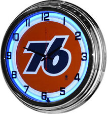 "17"" UNION 76 Gasoline Sign Blue Neon Clock Gas Station Oil Lube"