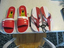 UNDER ARMOUR Men's Red &  White Flip Flops, all sizes , NWT
