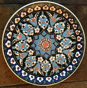 Stunning Decorative Handmade Turkish Multi-Color Enameled Plate KUTAHYA Pottery