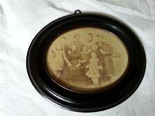 massiver ovaler Biedermeierrahmen Messinginnenrand um 1850  Glas Foto