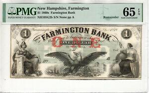 1860 $1 FARMINGTON BANK NEW HAMPSHIRE OBSOLETE NOTE REMAINDER PMG GEM 65 EPQ