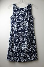 S Crown And Ivy Navy Blue Eyelet White Floral Pattern Dress, Size 4P