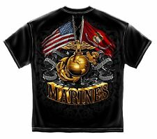 Double Flag Gold Globe Marine Corps Black Graphic T-Shirt