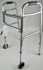 BRAND NEW! Medline Guardian Two-Button Basic Folding Walker with Wheels
