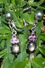 Vintage 18k Gold Black Star Sapphire Pink Sapphire Earrings/ 18k Gold Earrings