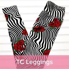f31b7529c08a04 NWOT LuLaRoe TC LEGGINGS BLACK WHITE RED ROSES FLORAL STRIPES EASTER NEW  PRINT