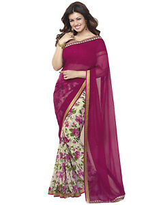Saree Sari Georgette Indian Bollywood Blouse Wear Designer Wedding Sc Fancy New