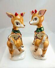 New ListingLeftons Deer Vintage Ceramic Figurine Reindeer Christmas Candle Holders Set Of 2