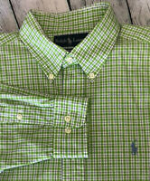 RALPH LAUREN CLASSIC FIT BUTTON DOWN SHIRT SIZE 15.5 32/33 PLAID GREEN