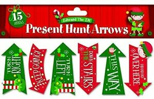 Chritmas Present Arrow Hunt - 15 Present Hunt Arrows reads over hear, This Way,