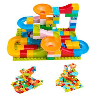 Marble Race Building Blocks Run Track Maze Ball Kids Toys Construction Set Slide
