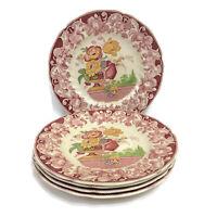 "Royal Doulton Pomeroy Red Set of 5 Dinner Plates 10 5/8"" Vintage"