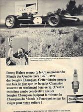 PUBLICITE  1968   CHAMPION   bougies  DENNY HULME