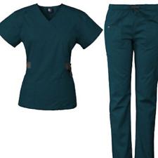 Nwt Medgear Women's 12-Pocket Scrubs set top & bottom_ Size M _ Caribbean 7897
