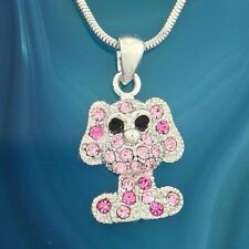 DOG Necklace Made With Swarovski Crystal Pink Puppy Pet Pendant Gift