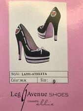 NIB Leg Avenue Shoes Athleta Very High Stiletto Platform Heels Black White Sz 9