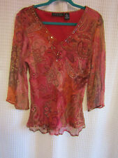 new york city designs co SILK paisley semi sheer tunic w/embellishment Large