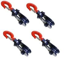 4pcs 2 Ton 3 Snatch Block Wire Rope Cable Pulley Roll Back Wrecker Recovery