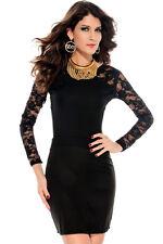 Fashionable Black Long Lace Sleeves Mini Dress