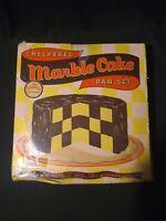 Vintage Checkered Marble Cake Pan 4 Piece Set Bake King Chicago Metallic Old USA