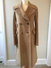 Burberry Womens Wool Cashmere Charleston Coat Trench Crombie Size S 10/12 Camel