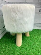 Fluffy White Footstool Faux Fur Soft Bedroom Home Decor Stool Brand New