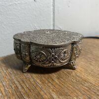 Vintage Silver Plated Metal Footed Trinket Box Embossed Made in Japan