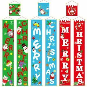 3PCS Christmas Door Banner Window Hanging Flag Home Décor Santa Deer Ornaments