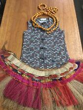 TRADER VICS vtg hawaiian hula tiki bar Grass Skirt Vest Uniform Brn Tropical Lei