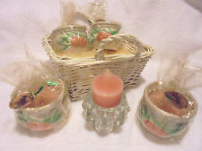 PEACH LAMPLIGHT FARMS STRAW BASKET OF CANDLES IN CERAMIC HOLDERS...UNIQUE...B-79