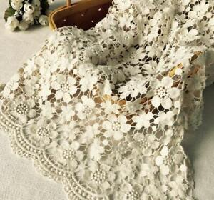 Vintage Beige Cotton Guipure Fabric Hollowed Flower Crochet Lace Fabric